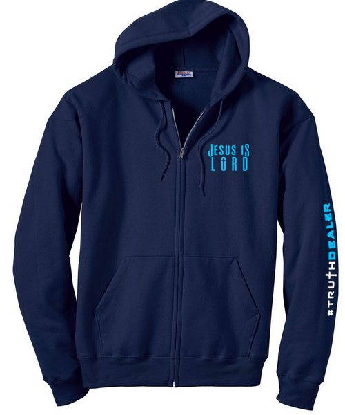 Jesus Is Lord 9.7 oz. Ultimate Cotton Full-Zip Hoodie - Navy Blue ...