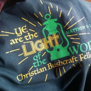 Light of the World Christian Bushcraft Fellowship Forest Green Shirt