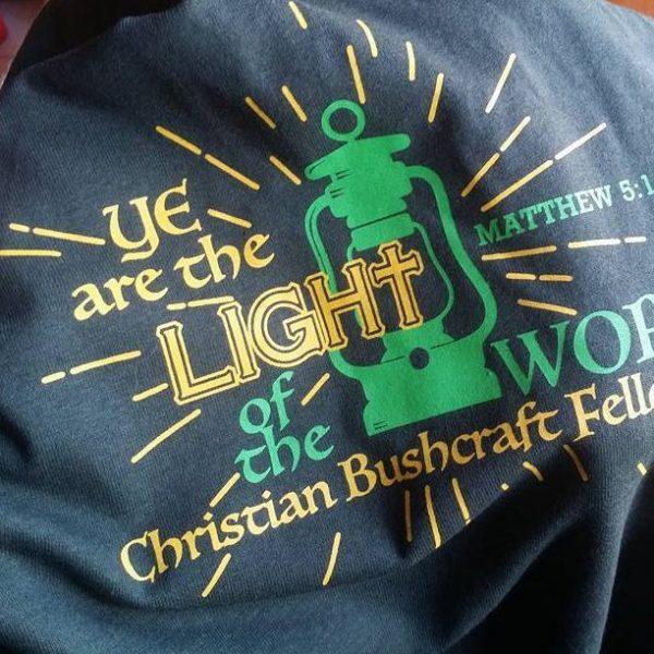 Light of the World Christian Bushcraft Fellowship Forest Green Shirt